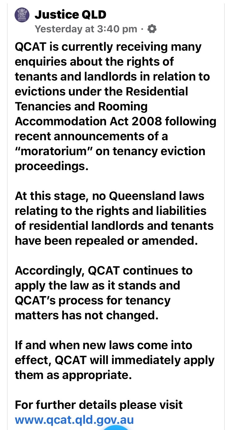 Justice Department Qld FB page 01 04 2020